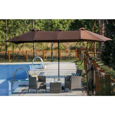 9 x 15 ft. Steel Market Patio Umbrella in Brown