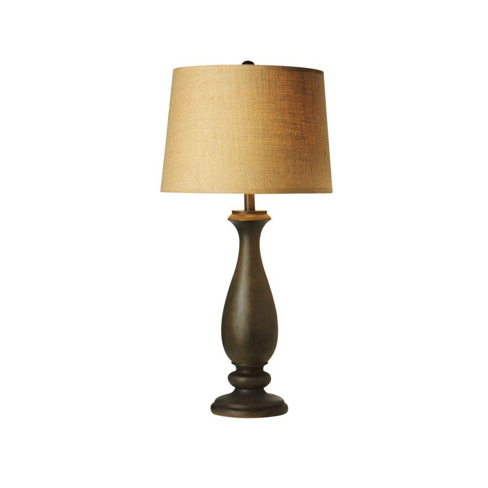 Home Decorators Collection Torero 15 in. Weathered Wood Table Lamp