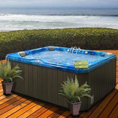6-Person 37-Jet Premium Acrylic Lounger Spa Hot Tub with Bluetooth Stereo System, Subwoofer and Backlit LED Waterfall