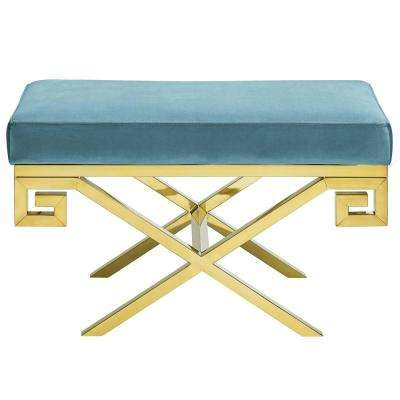 Gold Sea Rove Velvet Bench