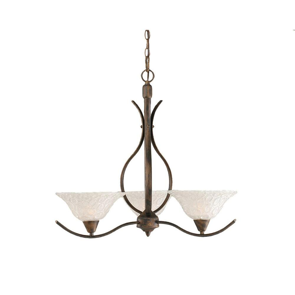 Concord 3-Light Bronze Chandelier with Italian Bubble Glass