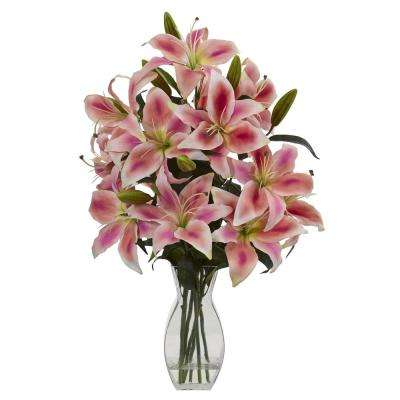 Indoor Rubrum Lily Artificial Arrangement in Vase