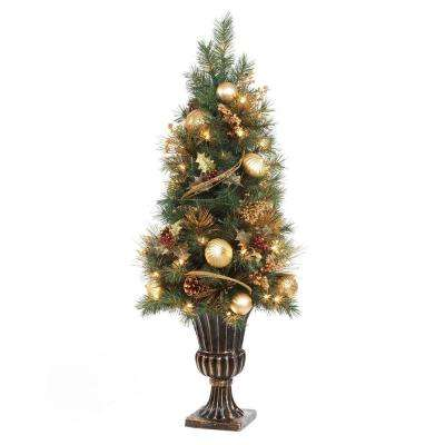 4 ft. Gold Artificial Christmas Porch Tree with 50 UL Clear Twinkle Lights