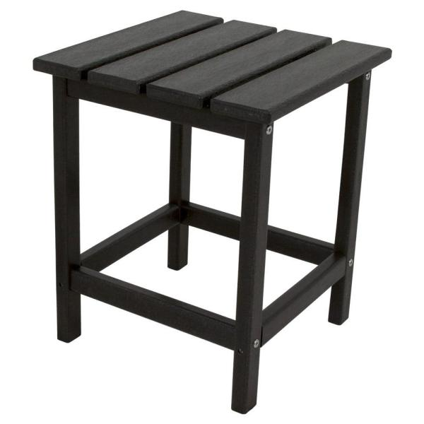 Long Island 18 in. Black Patio Side Table