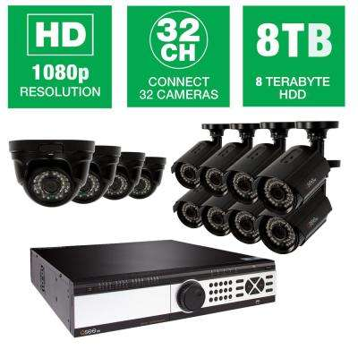 32-Channel 1080p 8TB Video Surveillance System with (4) Dome Cameras and (8) Bullet Cameras