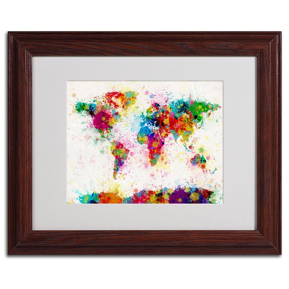 Trademark Fine Art 11 in. x 14 in. World Map - Paint Framed Matted Art