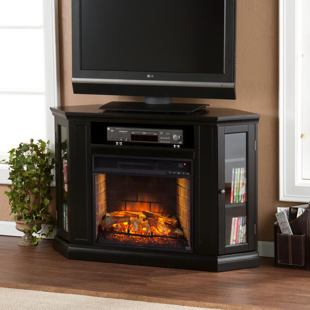 Hudson 48 in. W Convertible Media Infrared Electric Fireplace in Black