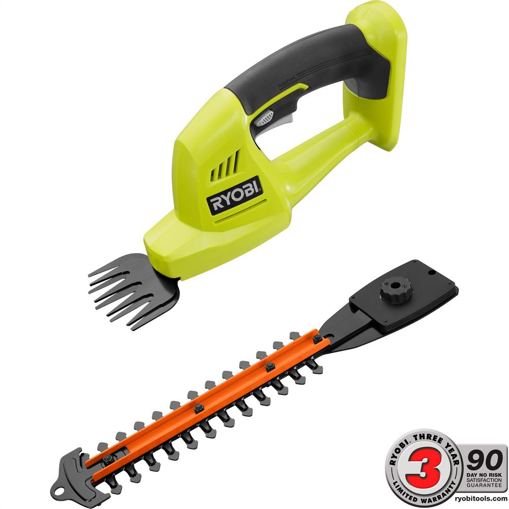 Ryobi one 18 volt lithium ion cordless grass shear and for Hand held garden shears