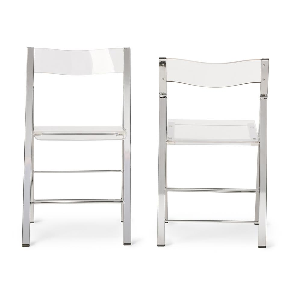 Baxton Studio Clear Acrylic Folding Chair (Set Of 2)