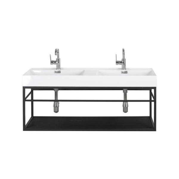 48 in. W x 18.5 in. D Bathroom Vanity in Black with Solid Surface Vanity Top in White and White Basin