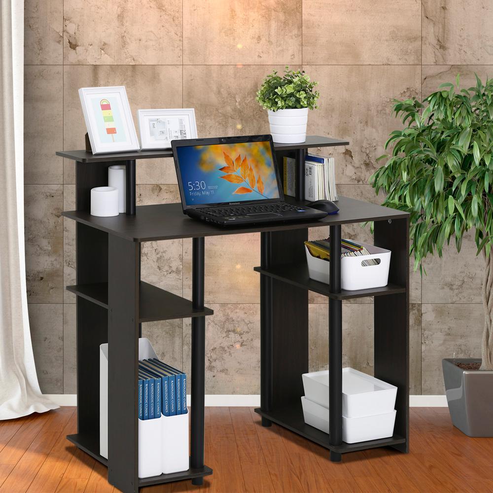 Furinno Walnut Shelves Desk