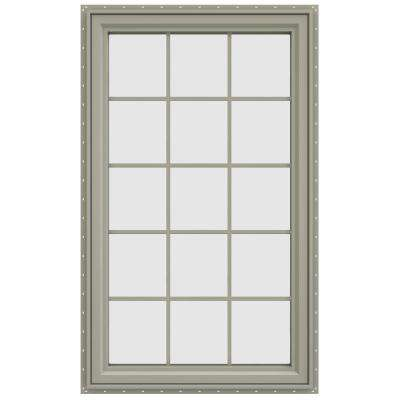35.5 in. x 59.5 in. V-4500 Series Left-Hand Casement Vinyl Window with Grids - Tan