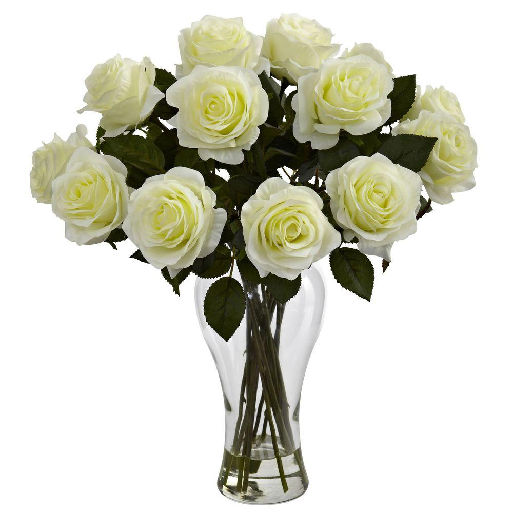 Nearly Natural Blooming Roses With Vase In White 1328 Wh
