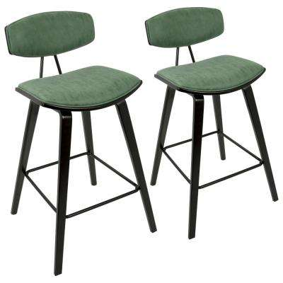Damato Mid-Century Modern Espresso and Green Fabric Counter Stool (Set of 2)