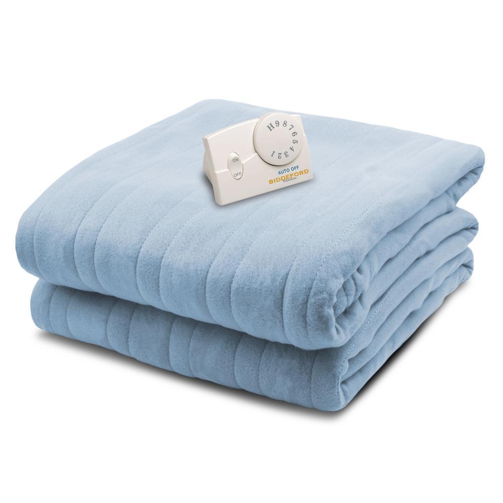 1000 Series 62 in. x 84 in. Cloud Blue Twin Size Comfort Knit Heated Blanket
