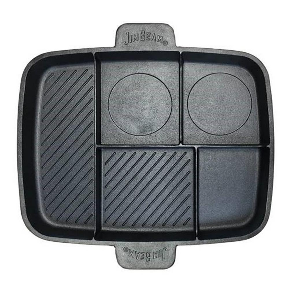 Jim Beam Cast Iron 5 Compartment Grill And Griddle Pan