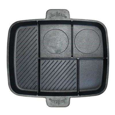 Cast Iron 5 Compartment Grill and Griddle Pan