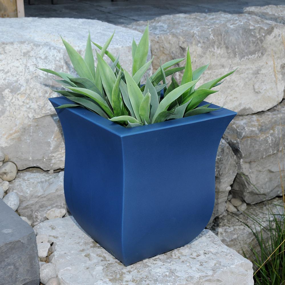 Valencia 16 in. x 16 in. x 18 in. Neptune Blue Square Polyethylene Planter