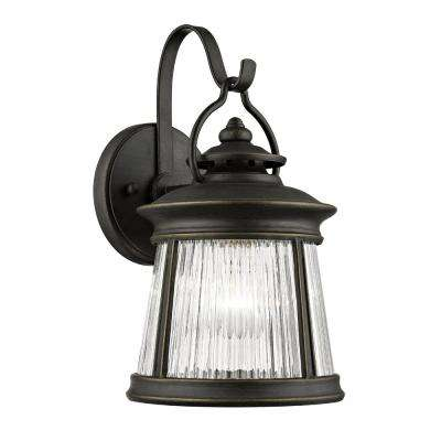 Compare Meridian 1 Light Old Bronze Exterior Wall Mount Lantern With Gl Shade