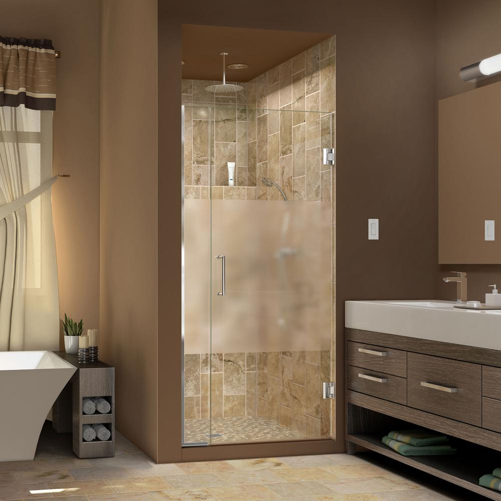 DreamLine Unidoor Plus 36 in. to 36-1/2 in. x 72 in. Semi-Frameless Hinged Shower Door with Half Frosted Glass in Chrome