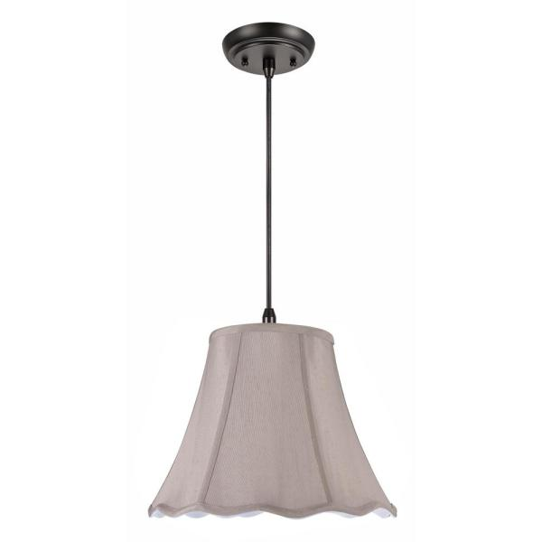 1-Light Oil Rubbed Bronze Pendant with Taupe Scallop Bell Fabric Shade