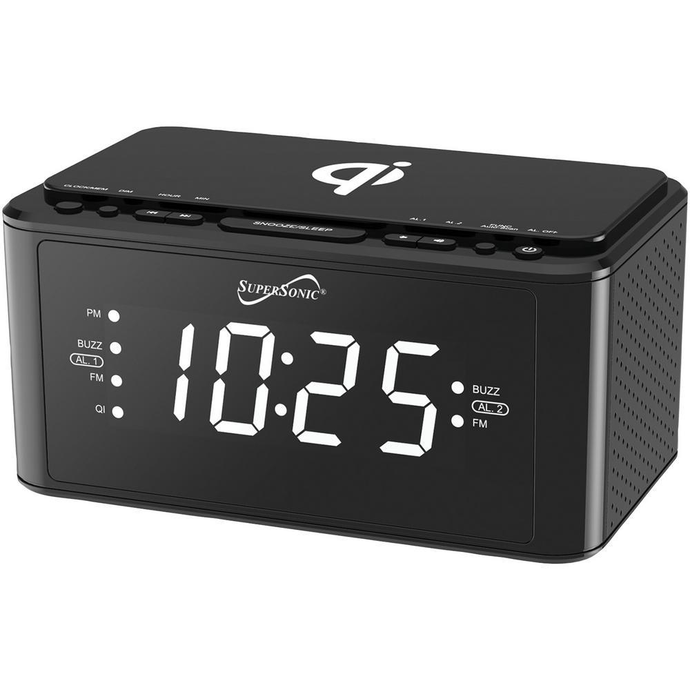 Black Qi Wireless Charging Station Clock Radio