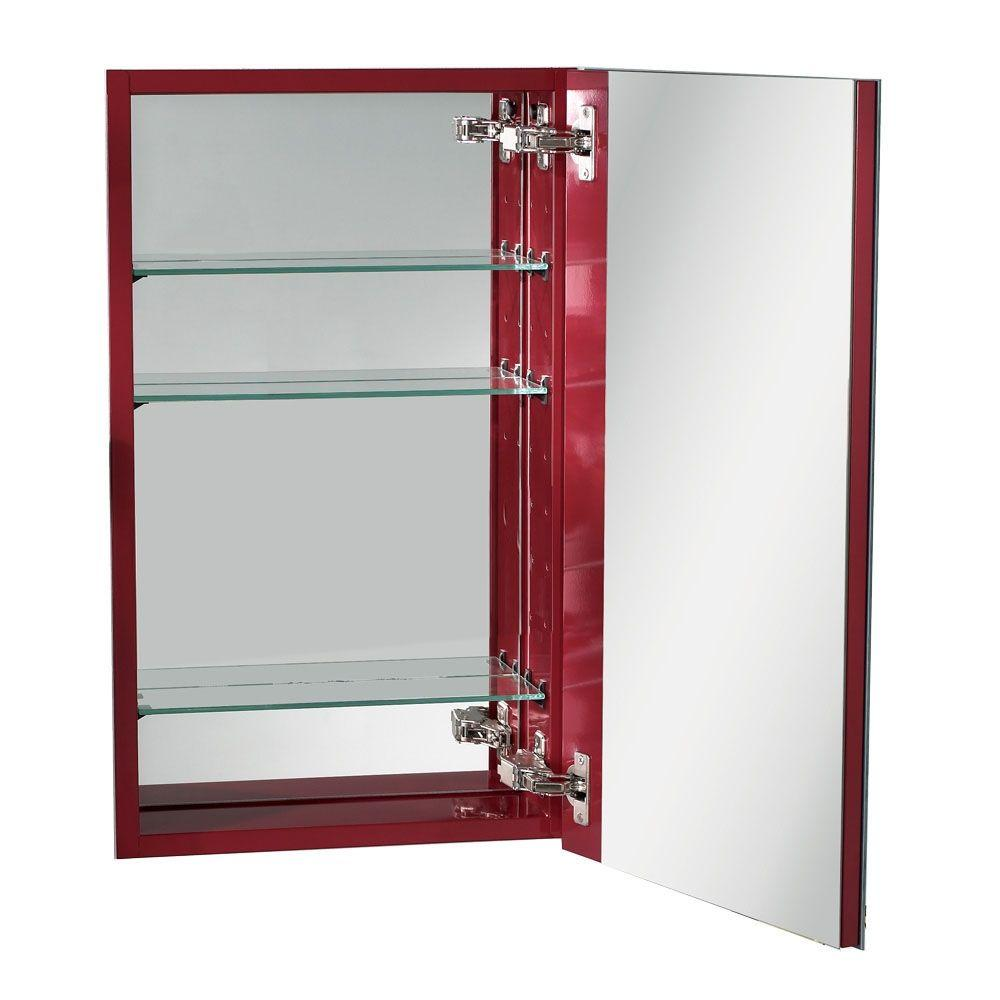 NuTone I Color 15 in. W Recessed Mirrored Medicine Cabinet in Fire Red-DISCONTINUED