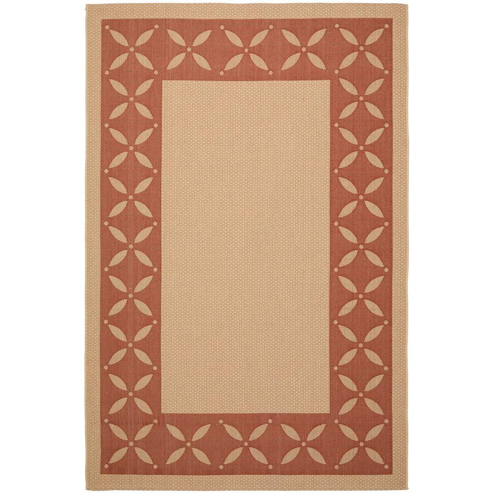 Martha Stewart Living Mallorca Border Cream/Red 6 ft. 7 in. x 9 ft. 6 in. Area Rug