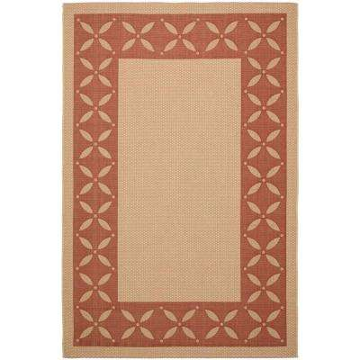 Mallorca Border Cream/Red 6 ft. 7 in. x 9 ft. 6 in. Area Rug