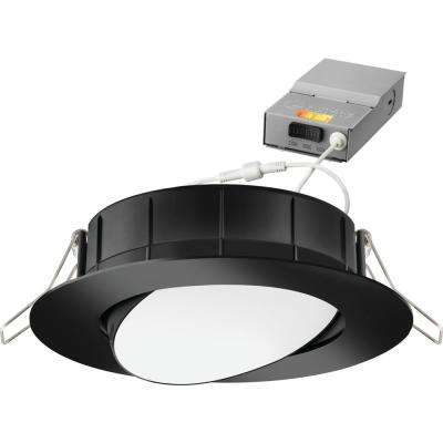 4 in. Selectable Color Temperature New Construction or Remodel Matte Black Recessed Integrated LED Gimbal Kit