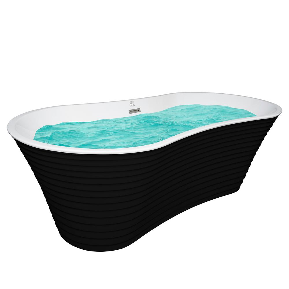 AKDY 67 in. Acrylic Center Drain Oval Double Slipper Flatbottom ...
