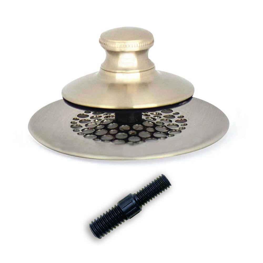 Watco 2.875 in. SimpliQuick Push Pull Bathtub Stopper, Grid Strainer and Composite Pin - Nickel