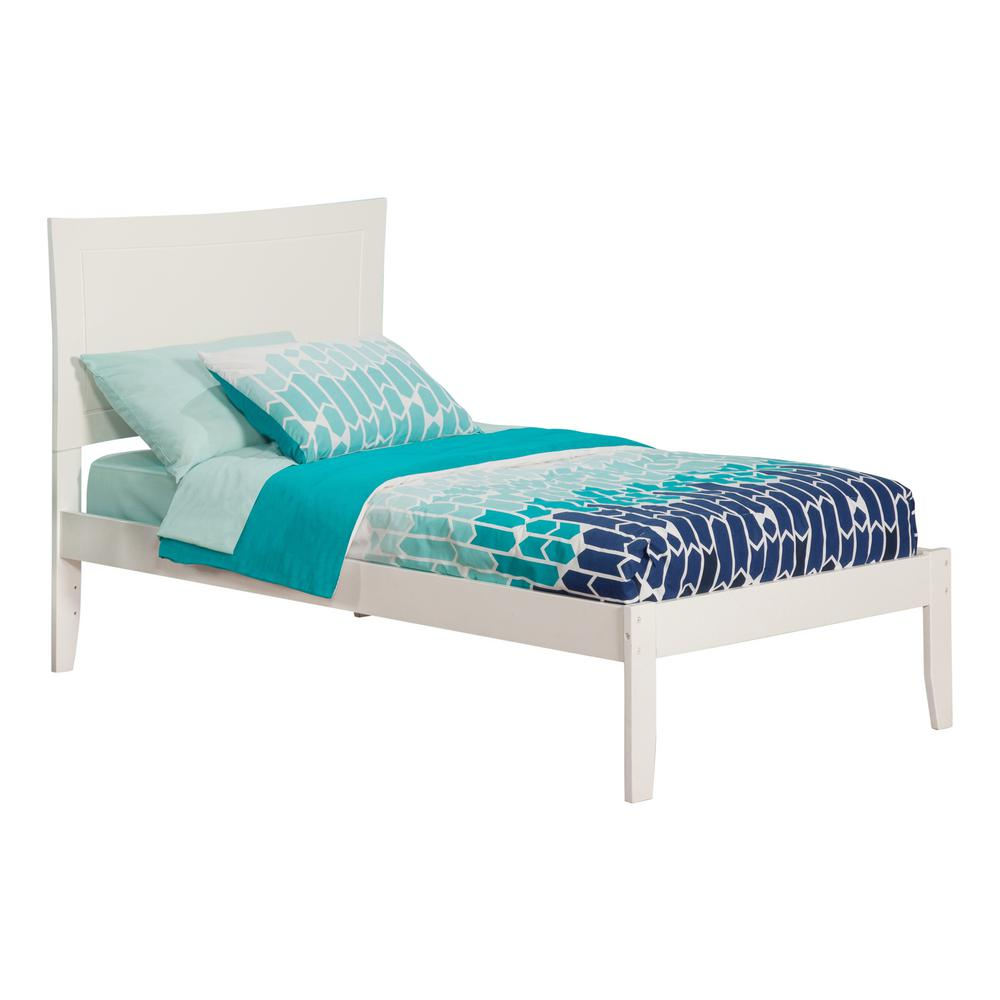 Metro White Twin Platform Bed with Open Foot Board