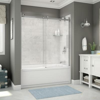 Utile 32 in. x 60 in. x 81 in. Bath and Shower Combo in Marble Carrara with New Town Right Drain, Halo Door Chrome