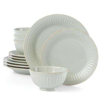 French Perle Groove 12-Piece Ice Blue Dinnerware Set