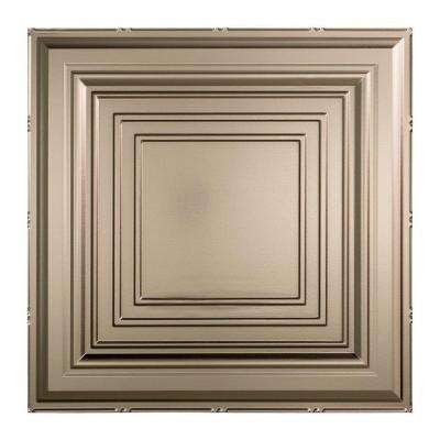 Traditional Style # 3 - 2 ft. x 2 ft. Vinyl Lay-In Ceiling Tile in Brushed Nickel