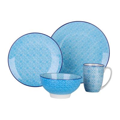 4-Piece Blue Pattern Porcelain Plates and Bowls Set Coffee Mugs Dinnerware Set
