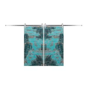 Rustica Hardware Bi-Parting 42 inch x 84 inch Rustica Reclaimed Aqua Barn Doors with Brushed Steel Arrow... by Rustica Hardware