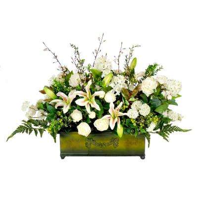 31 in. Wide Lily and Rose Planterbox Centerpiece
