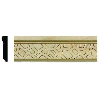 1625 1/2 in. x 2-1/4 in. x 6 in. Hardwood White Unfinished Cracked Ice Large Chair Rail Moulding Sample