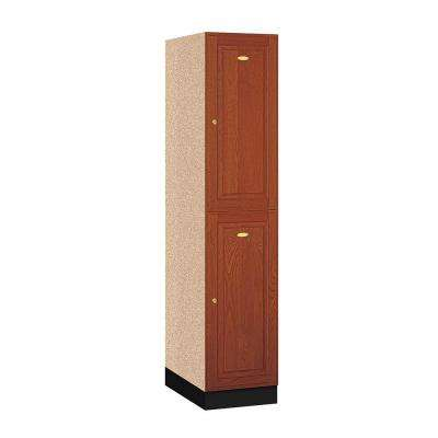 12000 Series 16 in. W x 76 in. H x 21 in. D 2-Tier Solid Oak Executive Locker in Medium Oak