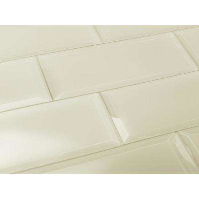 3 in. x 12 in. Frosted Elegance Cecillia Creme Matte Glass Peel and Stick Wall Tile Sample