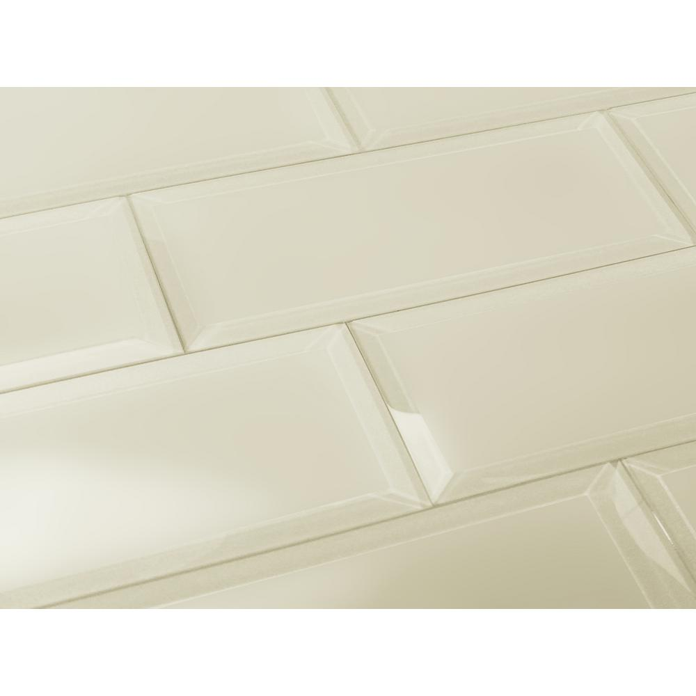Frosted Elegance Cecillia Creme Matte 3 in. x 12 in. Glass