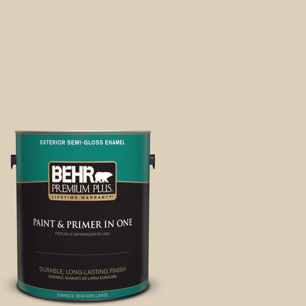 BEHR Premium Plus 1-gal. #bwc-26 Stucco Tan Semi-Gloss Enamel Exterior Paint, Beige/Ivory