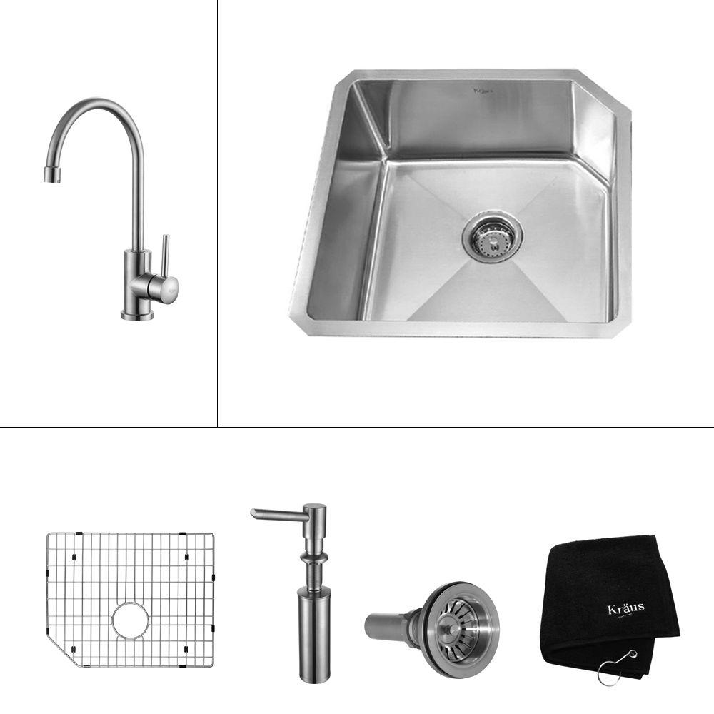 KRAUS Undermount 23 in. x 18-3/4 in. Single Bowl Kitchen Sink, Single Lever Kitchen Faucet in Stainless Steel-DISCONTINUED