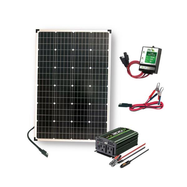 110-Watt Polycrystalline Solar Panel with 300-Watt Power Inverter and 11 Amp Charge Controller