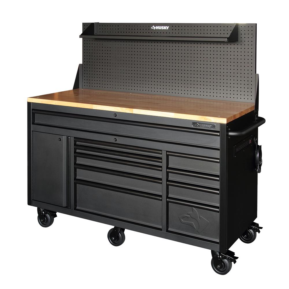 Husky 61 in. 10-Drawer 1-Door 24 in. D Mobile Workbench with Solid Wood Top, Pegboard and Shelf in Textured Black Matte