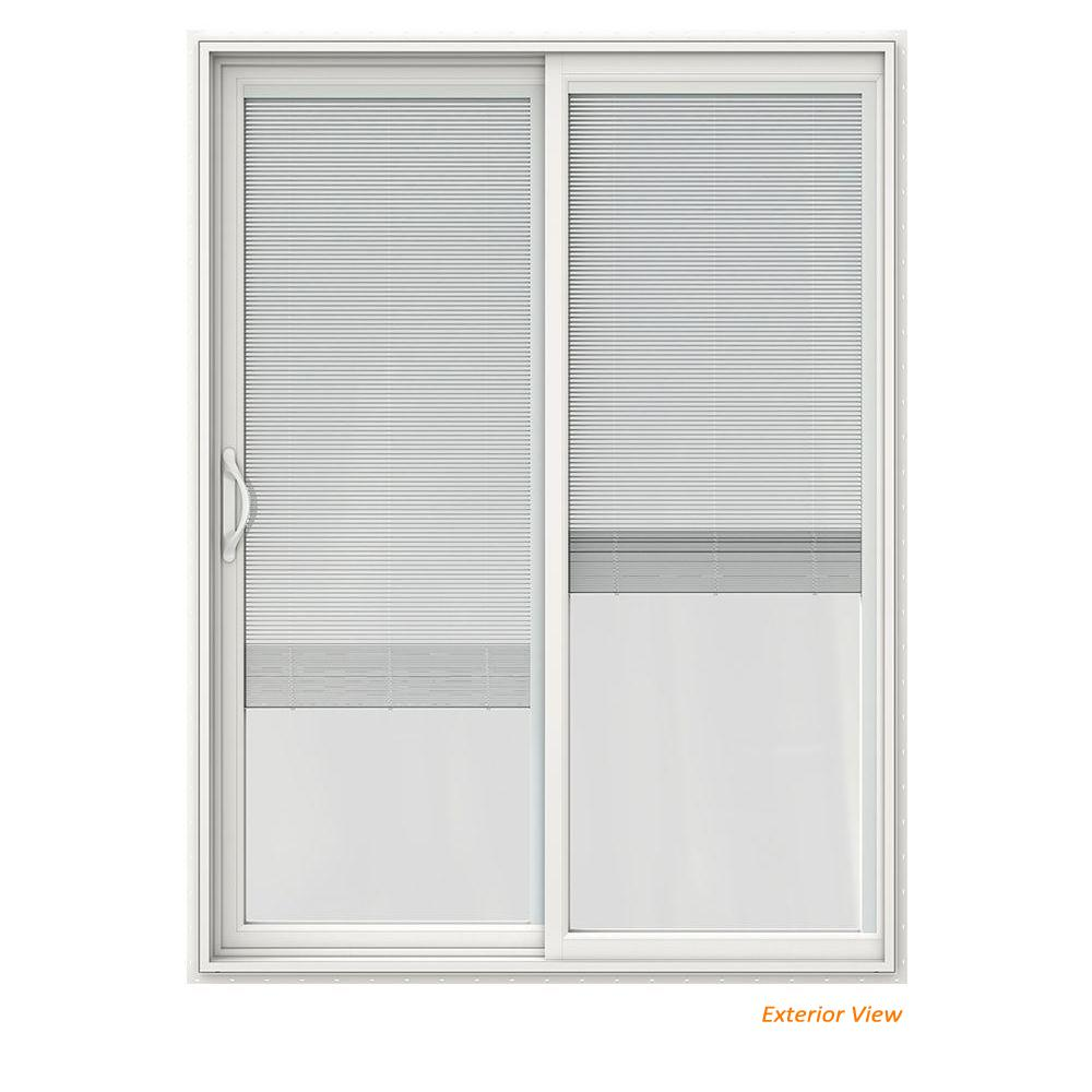 Jeld Wen 60 In X 80 In V 2500 White Vinyl Left Hand Full Lite Sliding Patio Door W White Interior Blinds Jw1815 00227 The Home Depot