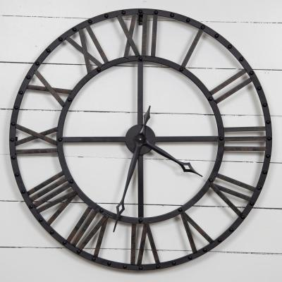 Oversized Black and Bronze Metal Wall Clock
