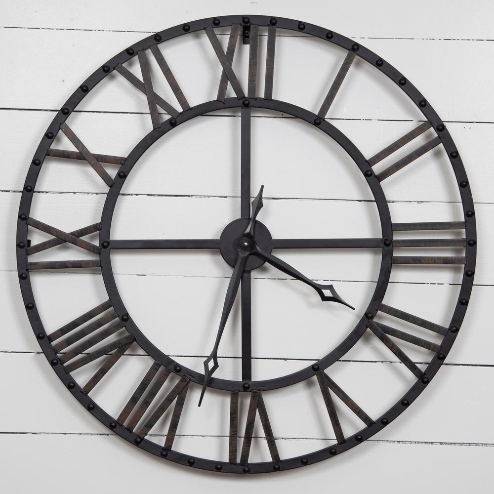 Oversized Black and Bronze Metal Wall Clock